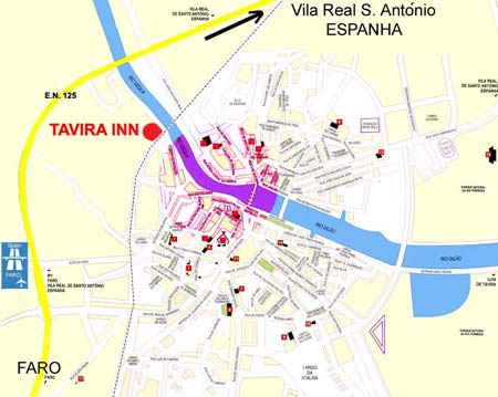 Map of Tavira  Algarve Portugal with location of bus and train